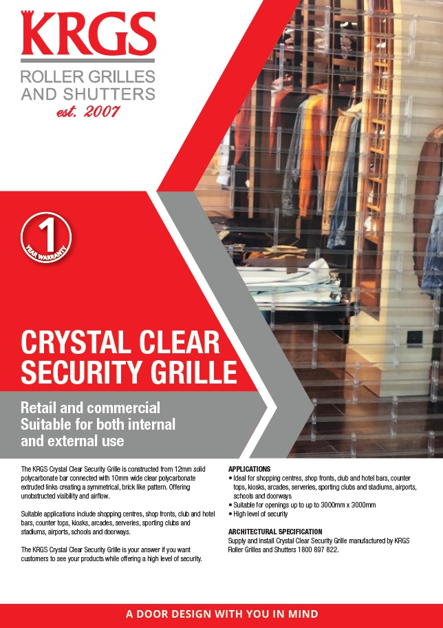 Crystal Clear Security Grille Brochure